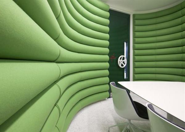 die google zentrale in london wandgestaltung weich stoffe grn - Auergewhnliche Wandgestaltung