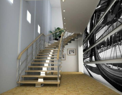 Digitale-Fototapeten-beleuchtung-decke-treppe-geländer-fahrrad