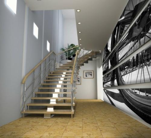 Digitale Fototapeten beleuchtung decke treppe geländer fahrrad