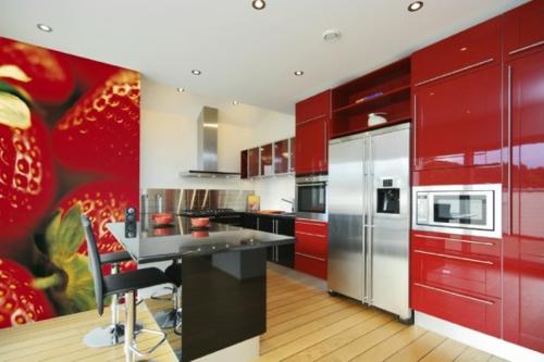 Digitale Fototapeten rot glanzvoll küche erdbeeren