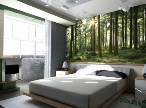schlafzimmer fototapete wald pictures to pin on pinterest ...
