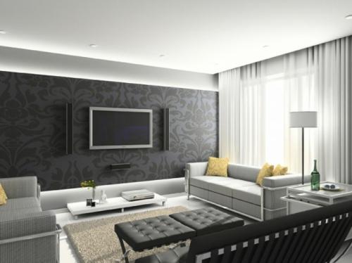 Digitale Fototapeten schwarz wohnzimmer fernseher floral