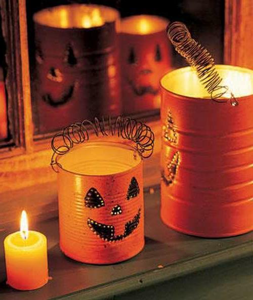 Do it yourself Wohnideen halloween lichter kürbisse