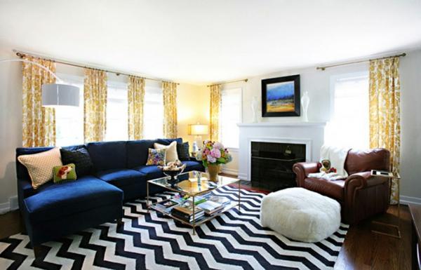 Einrichtungsideen schöne Möbel & Wohnen chevron schwarz weiß