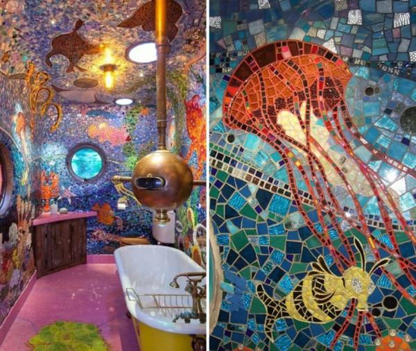 Einsatz von mosaikfliesen im interieur coole wandgestaltung for Badezimmer mosaikfliesen