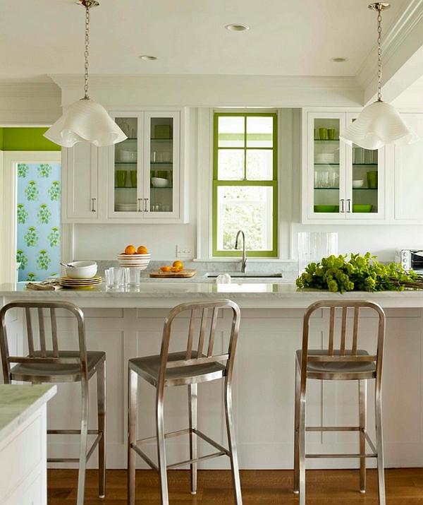 Emeco navy Hocker grüne akzente frisch küche