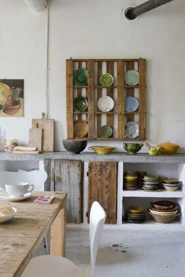 Europaletten recyceln regale küche teller rustikal