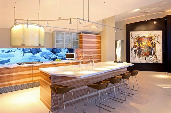 coole wohnzimmer beleuchtung:Coole Schienen Beleuchtung Küche Helle ...