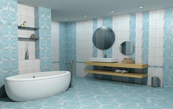 Fliesen für Ihr Badezimmer weiß blau farbschema