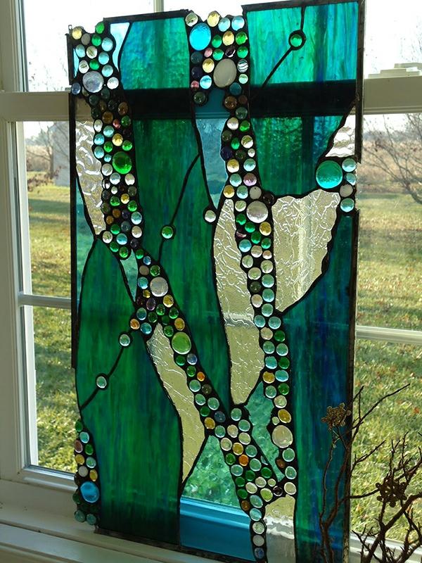 Glasmalerei zu Hause grün bemalt kristallen auffallend