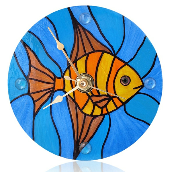 Glasmalerei zu Hause wanduhr rund meeresthema fisch