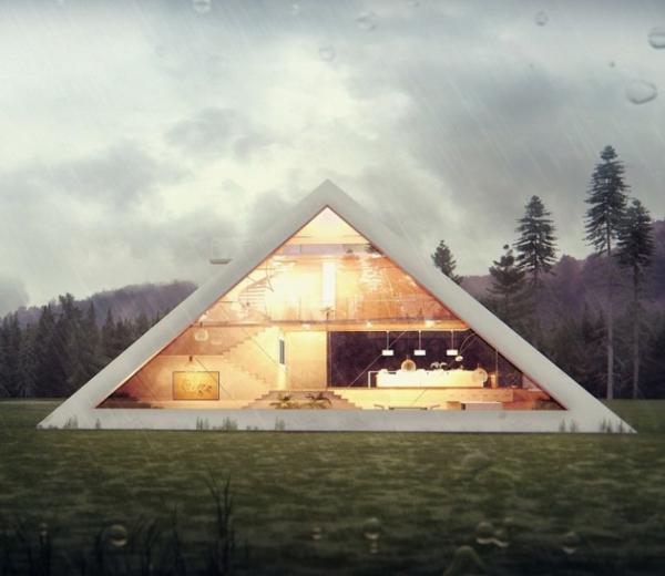 Haus in Form von Pyramide entwurf beleuchtung fassade glas