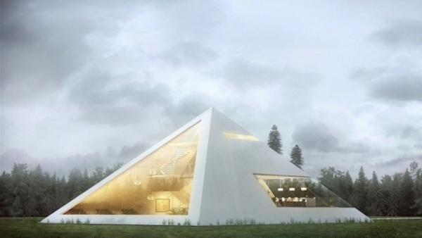 Haus in Form von Pyramide entwurf beleuchtung fassade