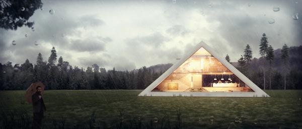 Haus in Form von Pyramide entwurf beleuchtung wohnung