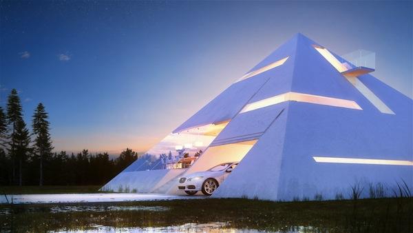 Haus in Form von Pyramide entwurf konzept design garage