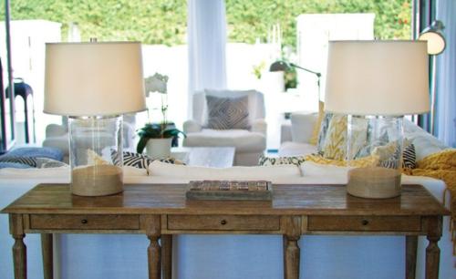 schöne Lampen und Leuchten als Dekoration lampenfuß sand glas