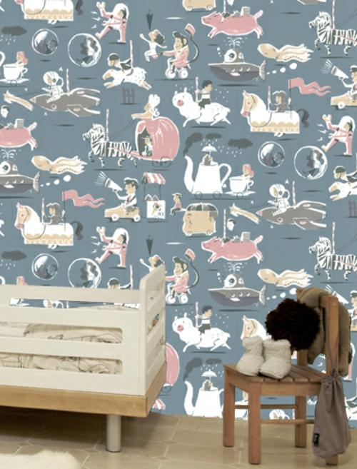 Kunstvolle Tapeten im Kinderzimmer bunt interessant kinderbett