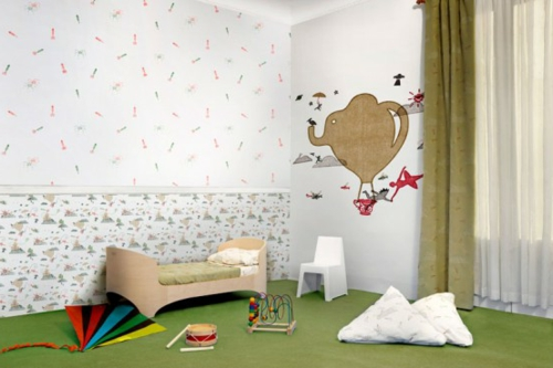 Kunstvolle Tapeten im Kinderzimmer sachlich auffallend grün teppich