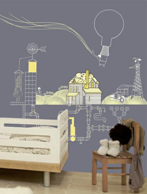 Kunstvolle Tapeten im Kinderzimmer städtisch umgebung