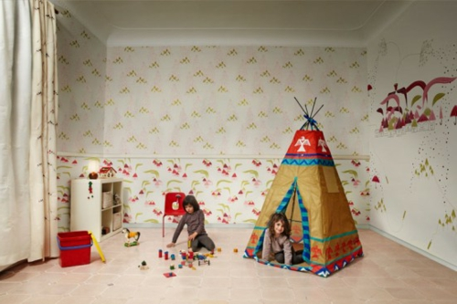 Kinderzimmer Wandgestaltung Tapeten : Kunstvolle Tapeten im Kinderzimmer zelt muster wandgestaltung