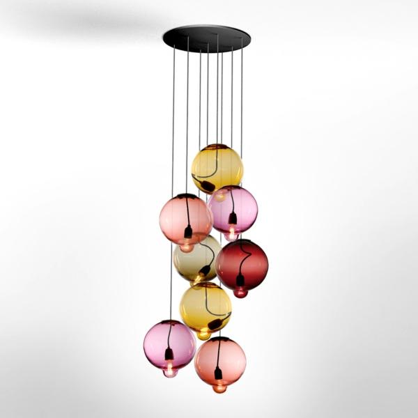 Holz Lampen Von Johan Lindstén ~ Meltdown Kugellampe aus Buntglas glühbirne hängend