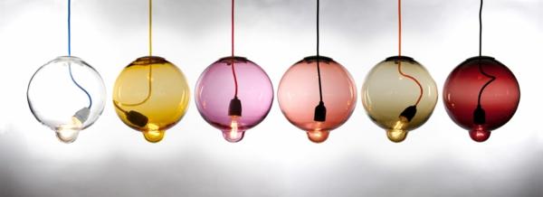 Meltdown Kugellampe aus Buntglas glühbirne hängend rund