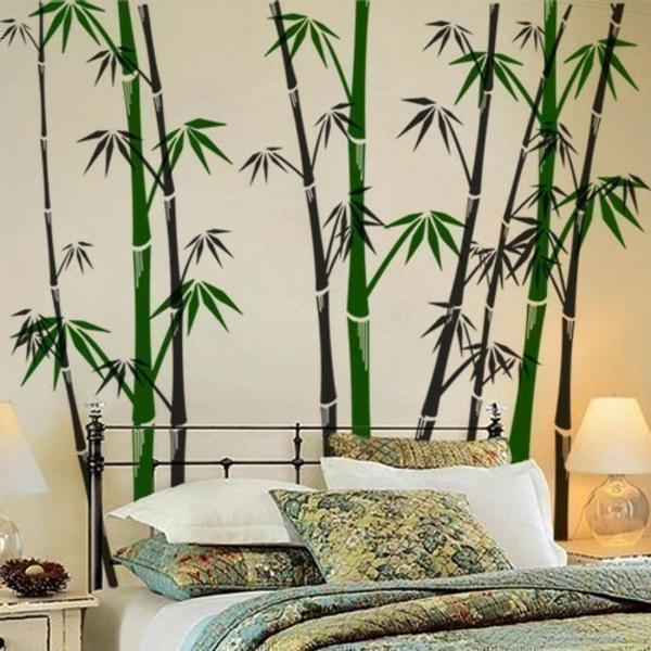 wohnzimmer malen braun:Modernes Wandtattoo bambus grün wandgestaltung exotisch