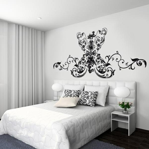 Ein Feminines Schlafzimmer In Schwarz Weiß Moderne Wandtattoo Iden Im Jahr  2014
