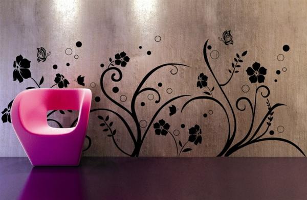 Modernes Wandtattoo wohnzimmer floral muster sessel rosa schön
