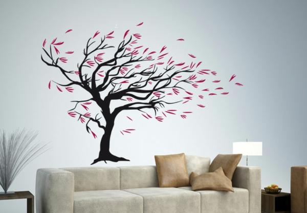 wohnzimmer Wandtattoo floral muster sofa samt braun
