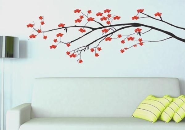 wohnzimmer  Wandtattoo floral muster weiß wohnzimmer