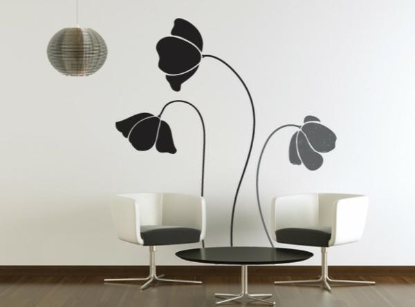 Modernes wohnzimmer Wandtattoo schwarz sessel glas tischplatte rund