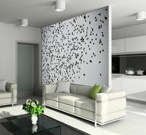 modernes Wandtattoo trennwand weiß schwarz küche wohnzimmer
