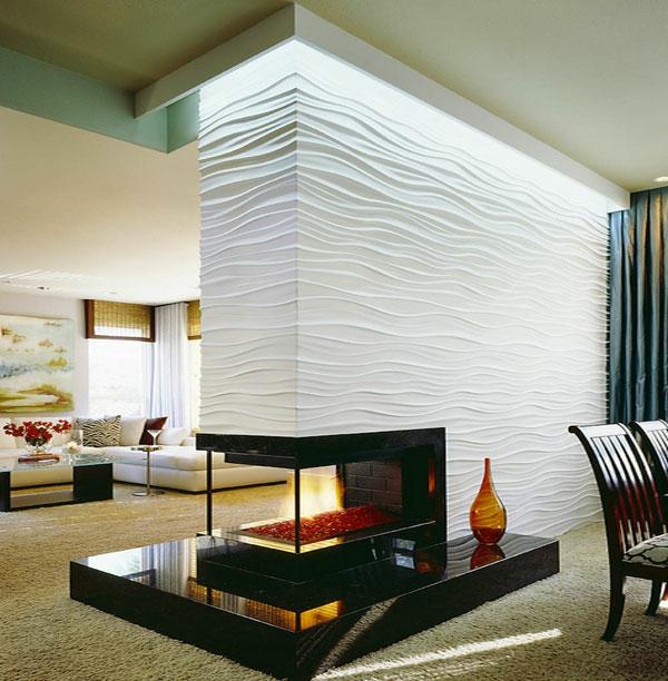 Raumteiler und Trennwand feuerstelle beleuchtung welle