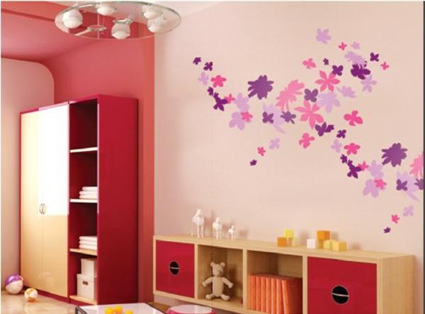 Schöne Wandtattoo und Wandsticker als Dekoration blumen rosa
