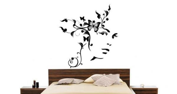 schönes Wandtattoo und Wandsticker als Dekoration feminine schwarz