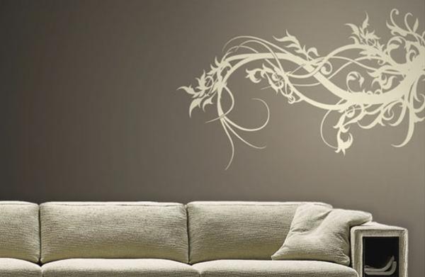 Schöne Wandtattoo und Wandsticker als Dekoration grau elegant