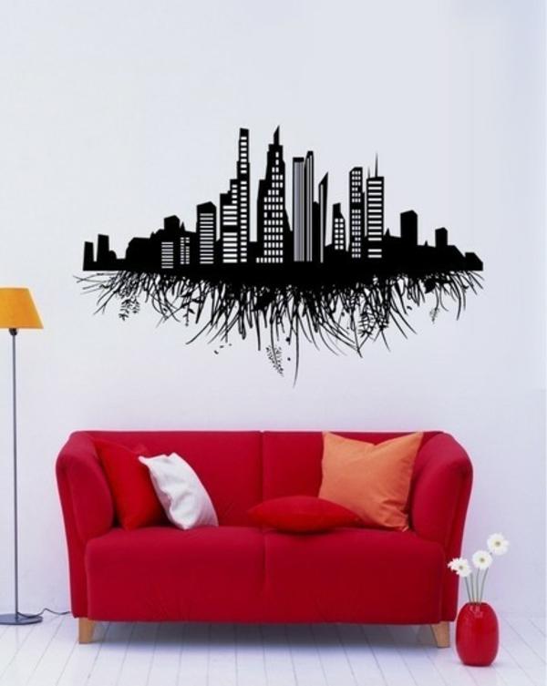 schönes Wandtattoo und Wandsticker als Dekoration sofa rot