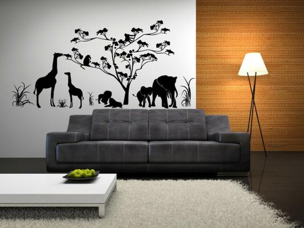 schönes Wandtattoo und Wandsticker als Dekoration stehlampe sofa