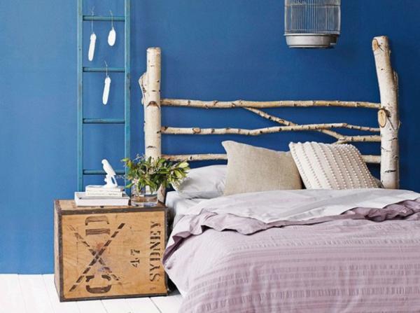 Schlafzimmer gestalten birke zweig kopfteil