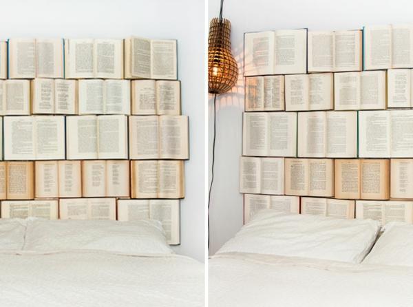 Schlafzimmer gestalten kopfteil bücher ordnung