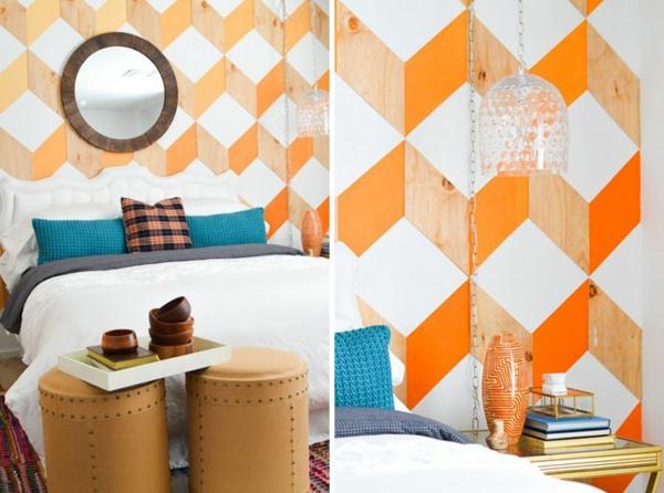 Schlafzimmer komplett gestalten kopfteil geometrisch wand