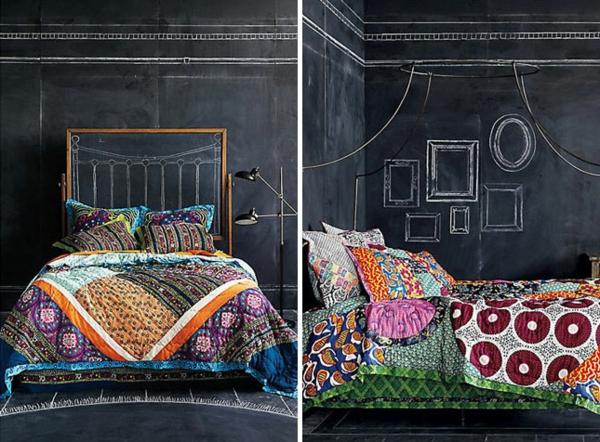 Schlafzimmer gestalten kopftel schwarz schultafel