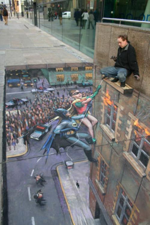 Street art mit 3D Effekt von Julian Beever batman robin