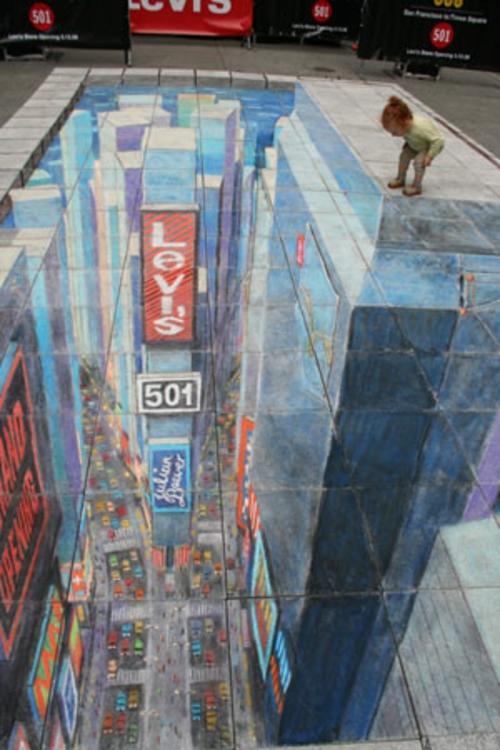 art mit 3D Effekt von Julian Beever batman time squere