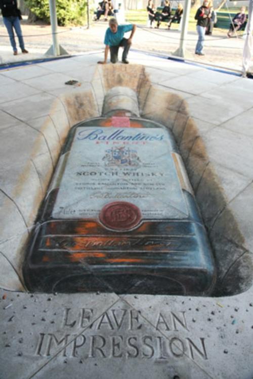 Street art mit 3D Effekt von Julian Beever erstaunlich alkohol