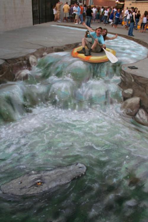 Street art mit 3D Effekt von Julian Beever erstaunlich wasser kanu fahren