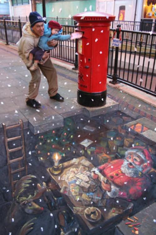 Street art mit  3D Effekt von Julian unglück auftrag erteilung