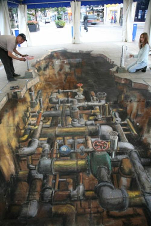 Street art mit 3D Effekt von Julian Beever wasser