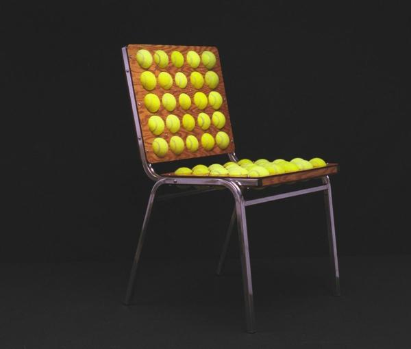 Stuhl Design aus Tennisbällen wiederverwendet umweltfreundlich essstuhl